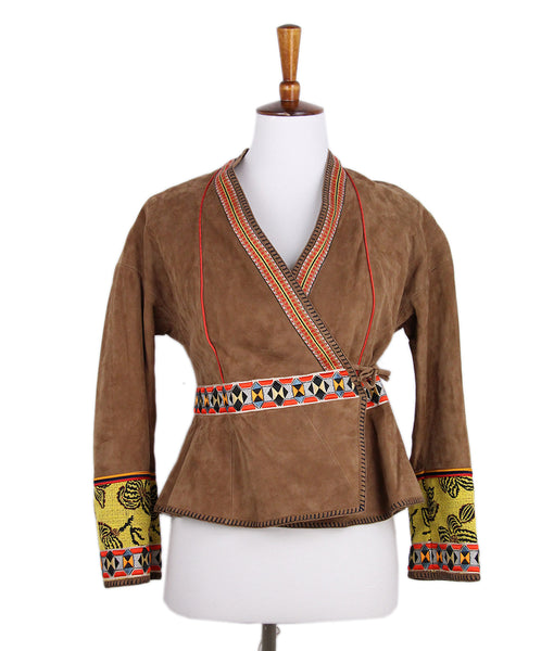 Etro Brown Suede Red Black Embroidered Jacket 1