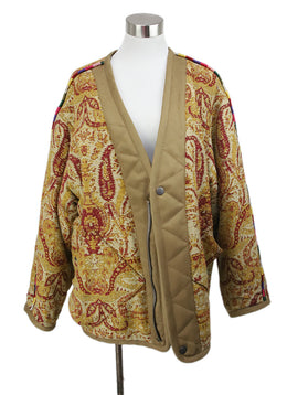 Etro Neutral Short Coat with Yellow and Burgundy Paisley Embroidery 1