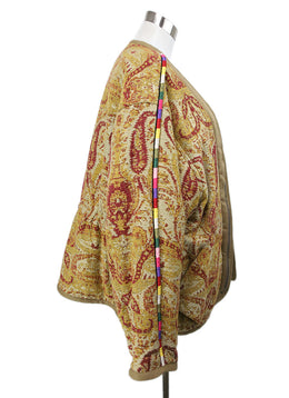 Etro Neutral Short Coat with Yellow and Burgundy Paisley Embroidery 2