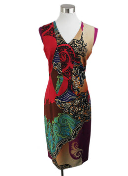 Etro Red Black Purple Print Viscose Dress 1