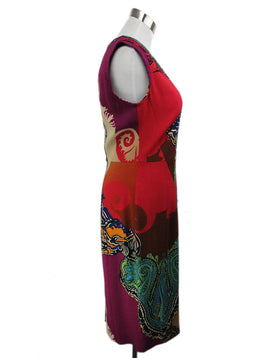 Etro Red Black Purple Print Viscose Dress 2