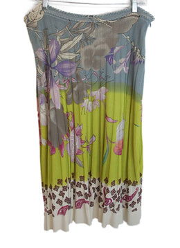 Etro Floral Print Yellow Blue Purple Cotton Skirt 1