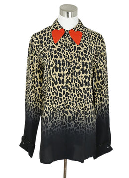 Blouse Etro Size 10 Black Camel Animal Silver Print Orange Heart Top 1