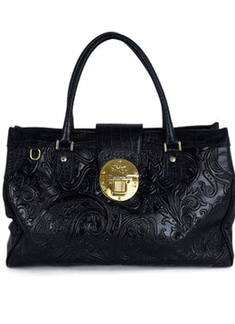 Etro Black Embossed Leather Handbag 1