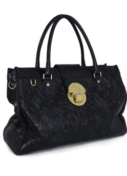 Etro Black Embossed Leather Handbag 2