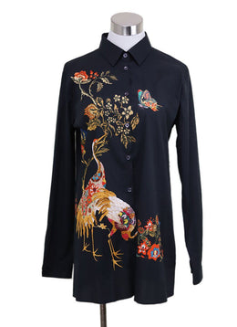 Etro Black Floral Print Cotton Top Sz 10