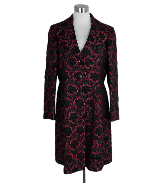 Etro Black Red Silk Cotton Floral Print Trenchcoat Outerwear 1