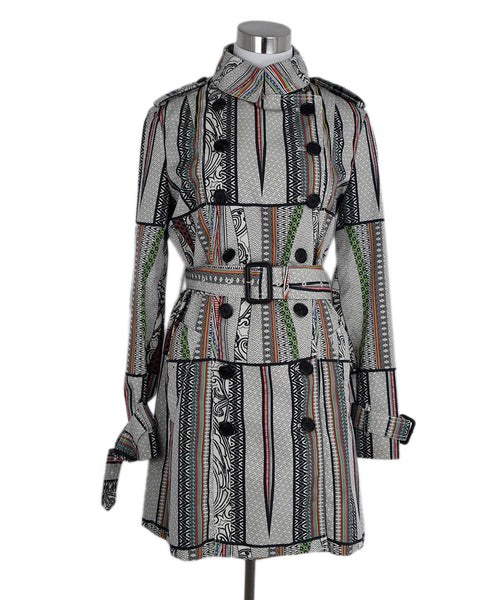 Etro White Black Multi Color Print Nylon Trenchcoat 1