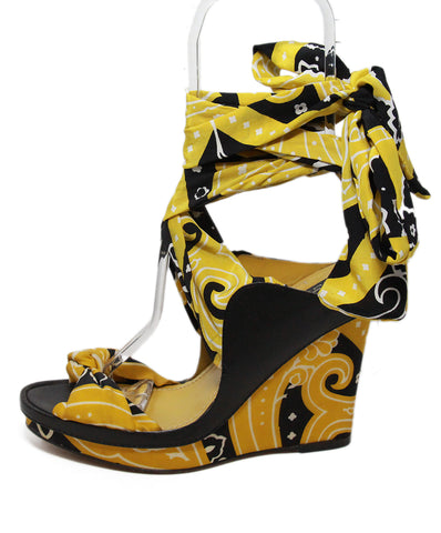 Etro black yellow print silk wedge 1