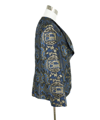 Etro Blue Bronze Silk Lurex Pattern Jacket 1