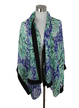 Etro Blue Green Print Silk Cardigan 1