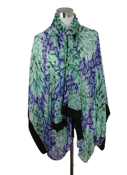 Etro Blue Green Print Silk Cardigan 2