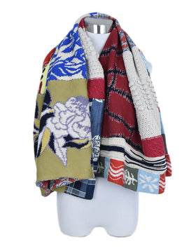 Etro Blue Red Yellow Cotton Throw Blanket 1