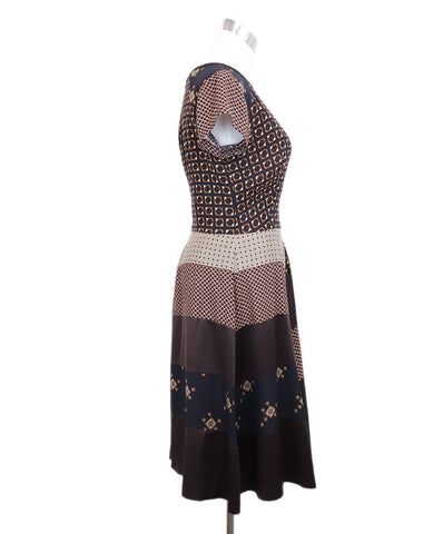 Etro Brown Black Champagne Multi Print Silk Dress 1