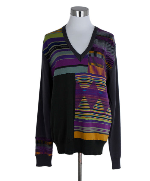 Etro Brown Purple Multi Print Wool V-neck Sweater 1