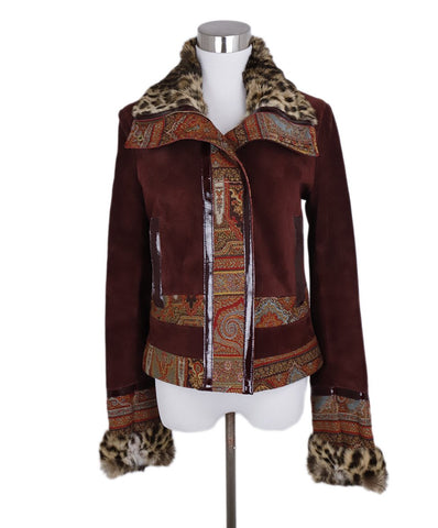 Etro Burgundy Suede Leopard Print Rabbit Trim Jacket 1