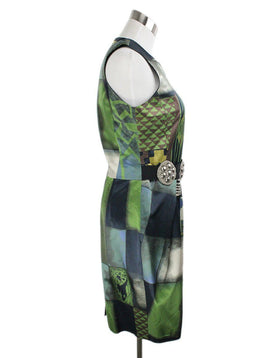 Etro Green Navy Brown Cotton Polyamide Dress 2