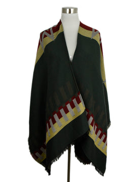 Etro Green Red Yellow Wool Poncho Outerwear 1