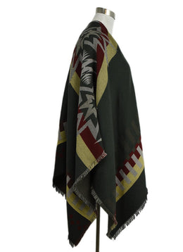 Etro Green Red Yellow Wool Poncho Outerwear 2