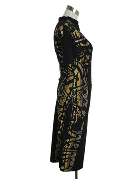 Etro Charcoal Grey Yellow Orange Wool Dress 2