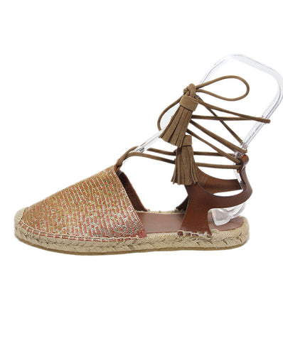 Etro orange gold leather espadrilles 1