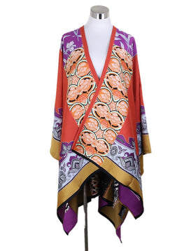 Etro Orange Purple Yellow Black Print Wool Cape