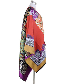 Etro Orange Purple Yellow Black Print Wool Cape 1