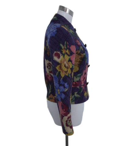 Etro Purple Gold Pink Floral Wool Jacket 1