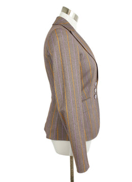 Etro Purple Lilac Orange Stripes Wool Jacket 2