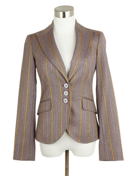 Etro Purple Lilac Orange Stripes Wool Jacket 1