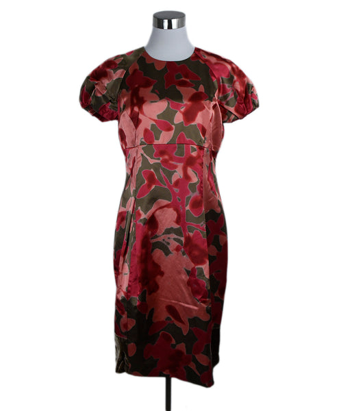 Etro Red Brown Silk Dress 1