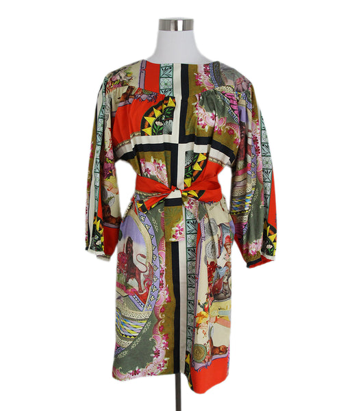 Etro red green pink dress with belt 1