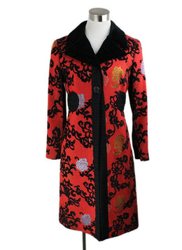Coat Etro Red Rust Black Wool Velvet Outerwear 1