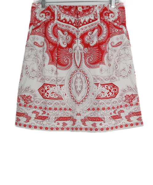 Etro red white cotton skirt 1