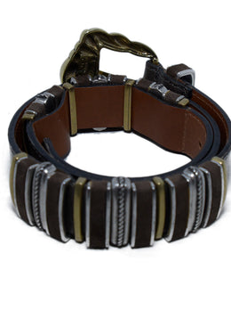 Etro Taupe Leather Silver Belt 2