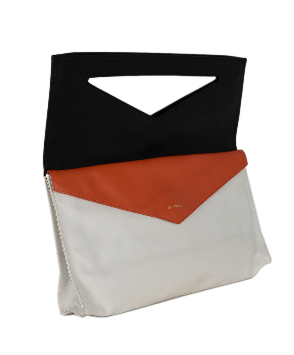Etro White Black Leather Orange Clutch Handbag 2