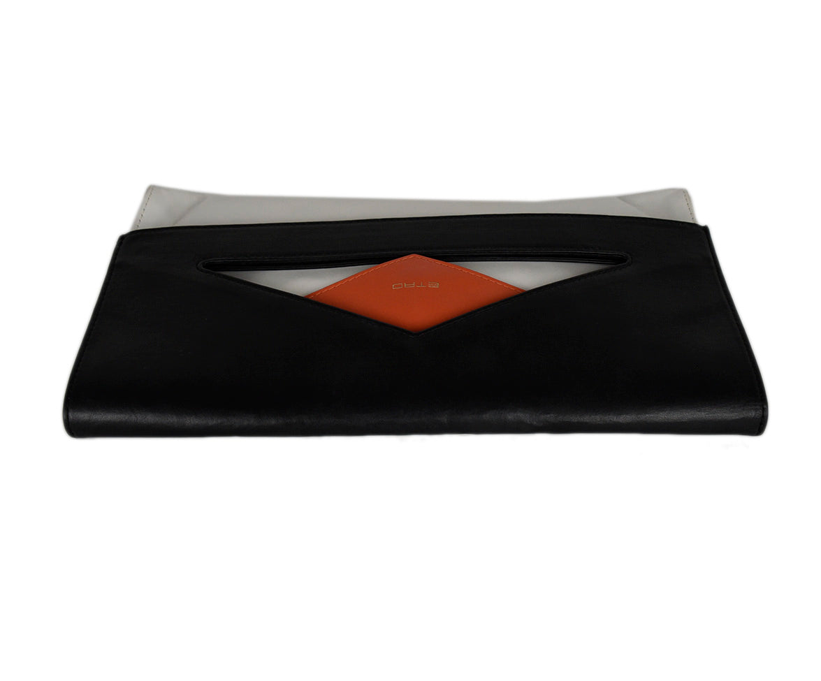 Etro White Black Leather Orange Clutch Handbag 6