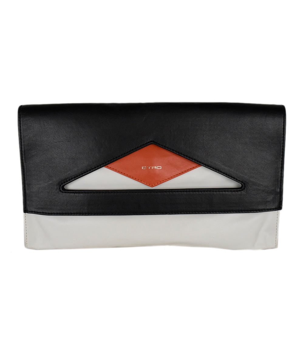 Etro White Black Leather Orange Clutch Handbag 4