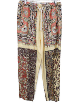 Etro Yellow Peach Paisley Black Silk Pants