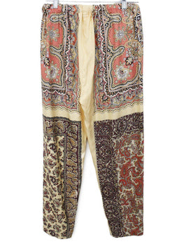 Etro Yellow Peach Paisley Black Silk Pants 1