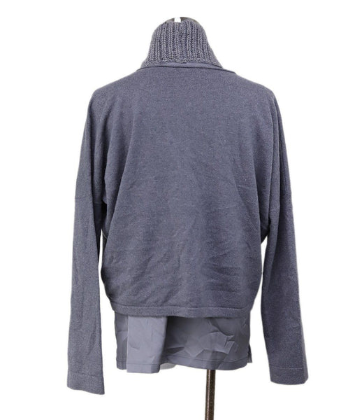 Sweater St Fabiana Filippi Grey Cashmere Silk Sequins Trim Sweater 3