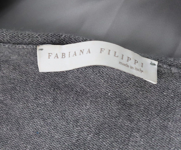 Sweater St Fabiana Filippi Grey Cashmere Silk Sequins Trim Sweater 5