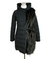 Fabiana Filippi Grey Charcoal Wool Fox Trim Outerwear 1