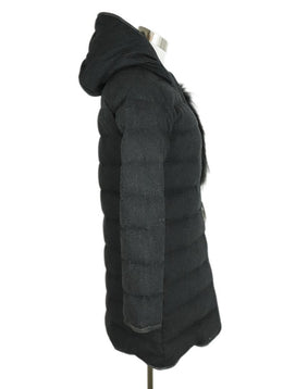 Fabiana Filippi Grey Charcoal Wool Fox Trim Outerwear 2