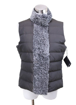 Fabiana Filippi Grey Shearling Trim Vest 1