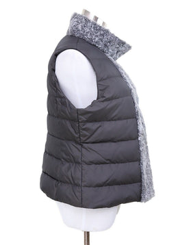 Fabiana Filippi Grey Shearling Trim Vest 2