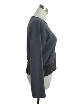Fabiana Filippi Blue Wool Suede Alpaca Sweater 2