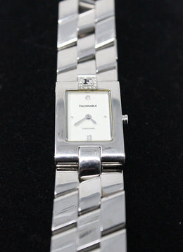Watch Faconnable Stainless Steel Ivory Diamond Trim Jewelry
