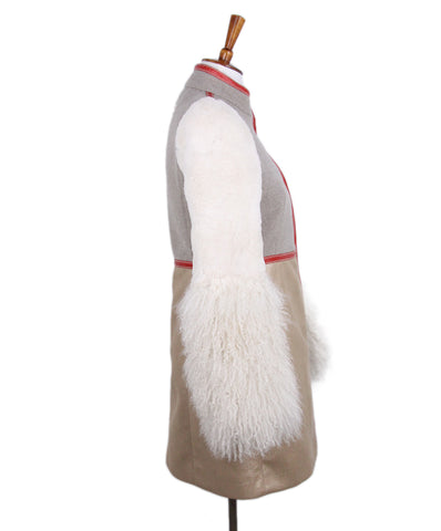 Fay Taupe Wool Shearling Red Trim Coat 1