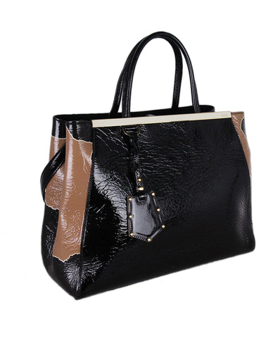 Fendi 2 Jours Black Tan Patent Leather Bag 1